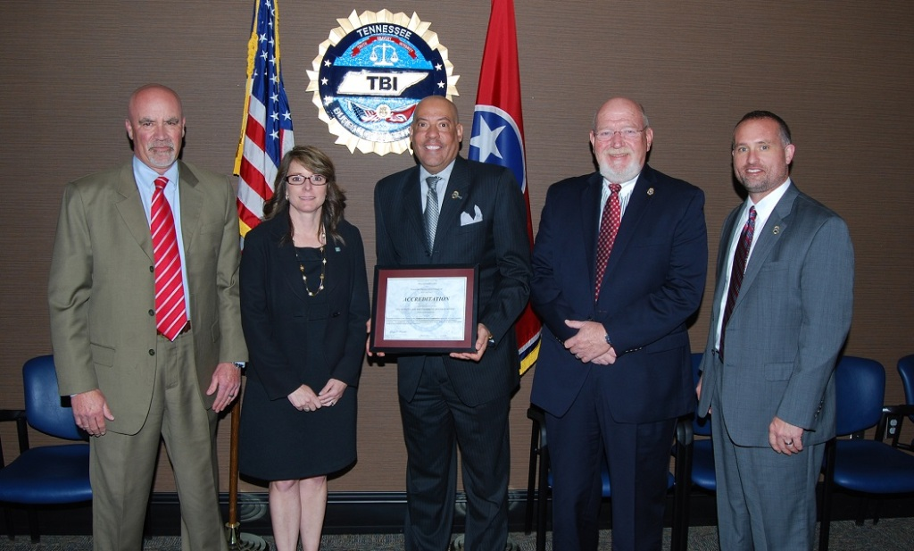 From L-R: TBI Deputy Director Jeff Puckett, North Carolina State Bureau of Investigation Special Agent Amanda Nosalek, TBI Director Mark Gwyn, TBI Assistant Special Agent-in-Charge Skip Elrod, TBI Deputy Director Jason Locke